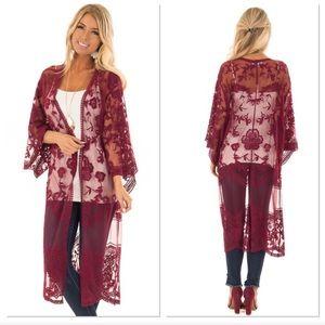 Wine Sheer Lace Kimono